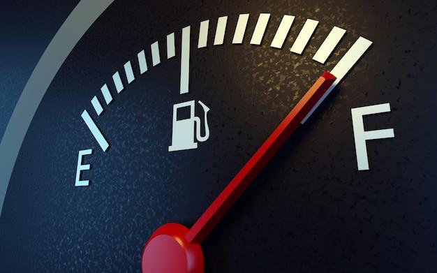 Um close de um medidor de combustível de carro
