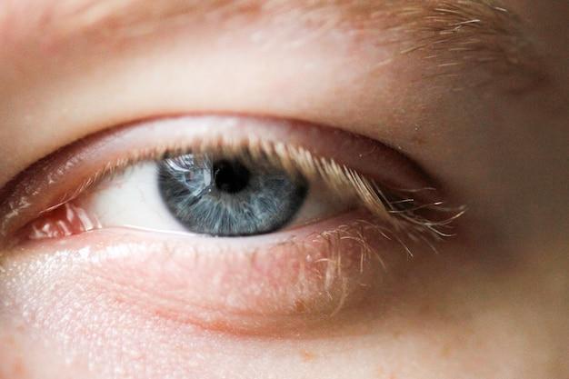 Um close do olho humano azul isolado
