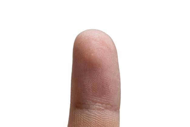 Um close-up macro de identificação de impressão digital humana, segurança de privacidade