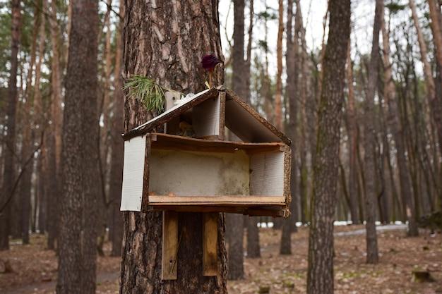 Um comedouro de pássaros caseiro na forma de uma casa está pendurado em uma árvore no parque, o fundo está desfocado