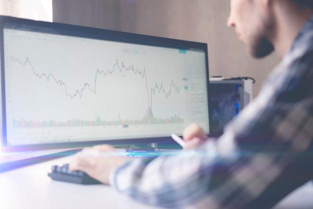 Um comerciante do sexo masculino observando o gráfico de ações na grande tela do computador em casa, análise de gráficos