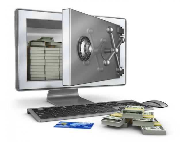 Um computador pessoal em que a tela é um cofre aberto com pacotes de notas.