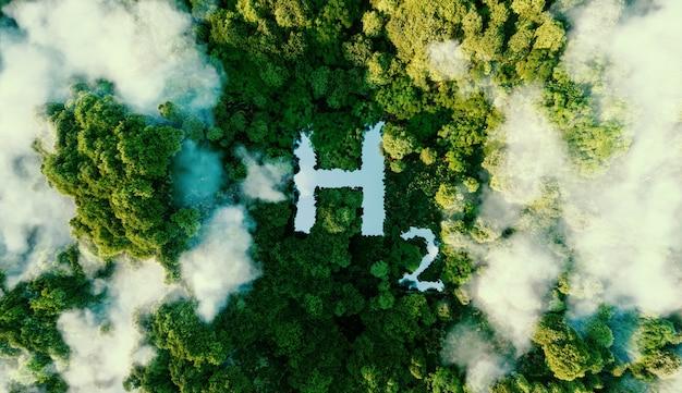 Um conceito que descreve metaforicamente o hidrogênio como uma fonte de energia ecológica na forma de um lago no meio de uma selva virgem. renderização 3d.