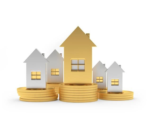 Um conjunto de casas de ouro e prata sobre pilhas de moedas isoladas na ilustração 3d branca