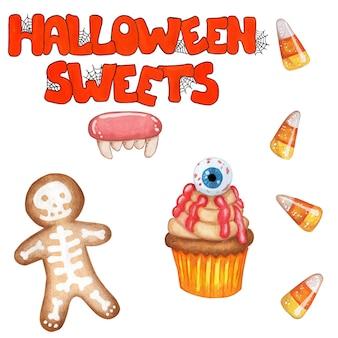 Um conjunto de doces para halloween texto laranja doces de halloween com teias de aranha de gengibre com esqueleto