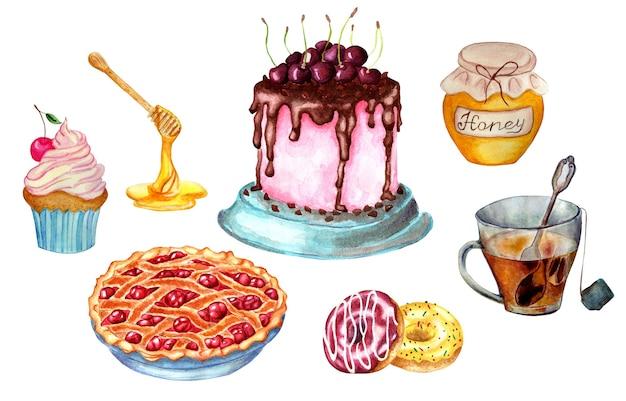 Um conjunto de doces para o chá que inclui bolo de cereja, torta de cereja, creme, muffin de cereja e mel