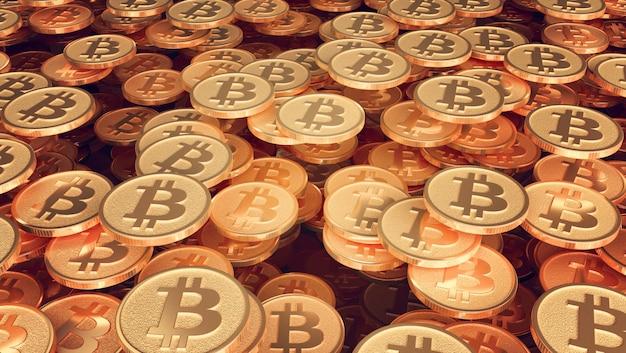 Um conjunto de moedas com a imagem do logotipo bitcoin
