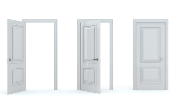 Um conjunto de portas de madeira brancas em diferentes estágios de abertura