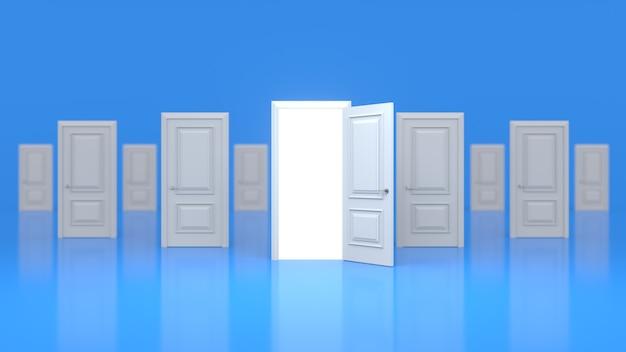 Um conjunto de portas de madeira brancas fechadas e uma aberta com um brilho