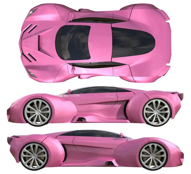 Um conjunto de três tipos de carros-conceito de corrida em rosa. vista lateral e vista superior. ilustração 3d.