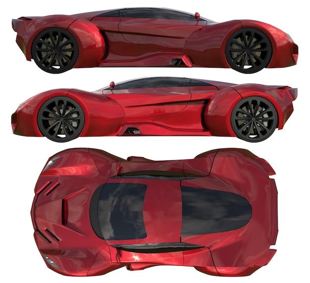 Um conjunto de três tipos de carros-conceito de corrida em vermelho. vista lateral e vista superior. ilustração 3d.