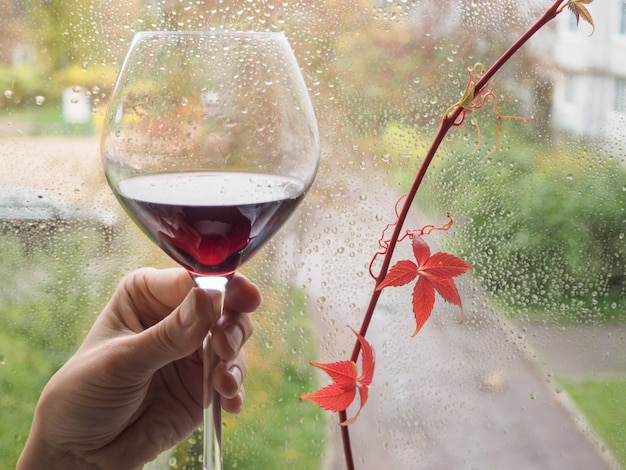 Um copo de vinho tinto na janela chuvosa.
