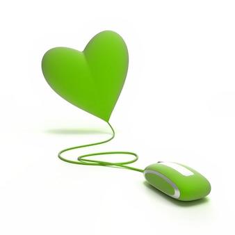 Um coração verde conectado a um rato vermelho
