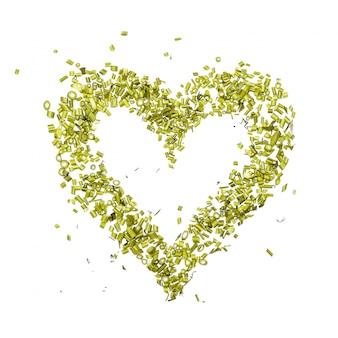 Um coração verde de salsa picada e endro em branco