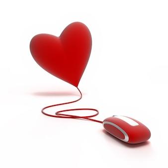 Um coração vermelho conectado a um rato vermelho