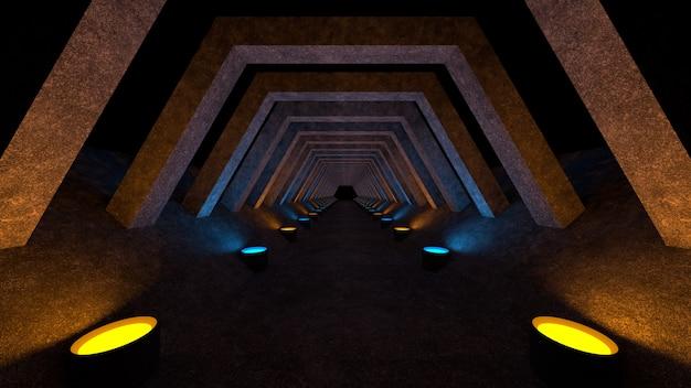 Um corredor de concreto com iluminação