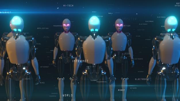 Um corredor sem fim de robôs enfrentando-se