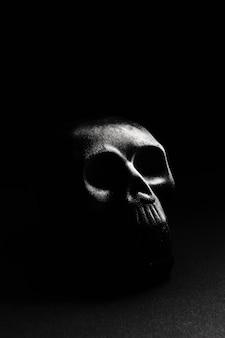 Um crânio em um fundo escuro, deitado sobre uma superfície plana