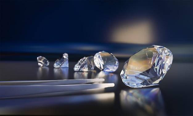 Um cristal transparente com pinças brilha contra um fundo escuro. uma pedra preciosa. renderização 3d.