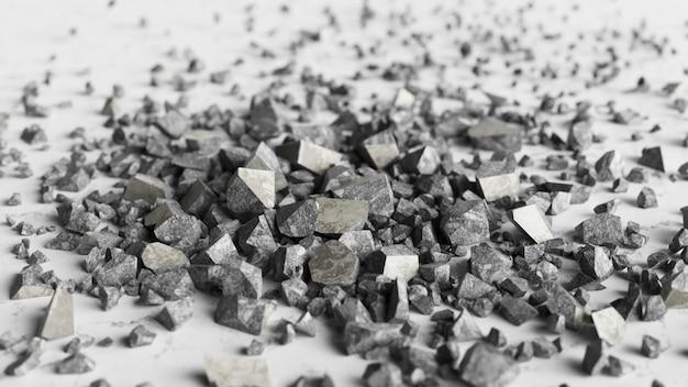 Um cubo de pedra se estilhaça em milhares de pequenos pedaços em câmera lenta. ilustração 3d do conceito de destruição