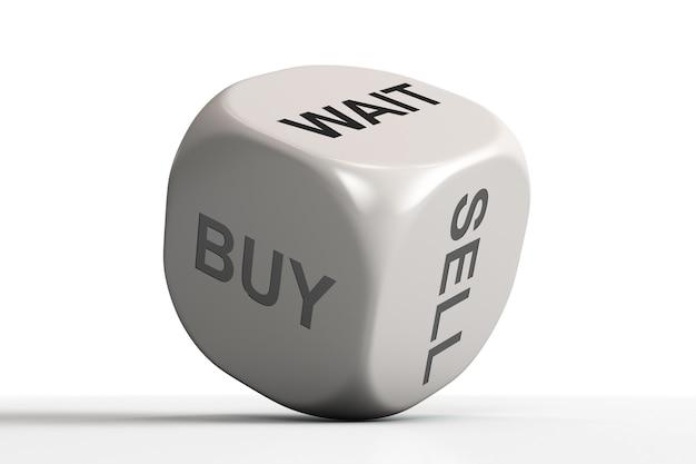 Um dado com uma resposta: compre, venda ou espere. Foto Premium