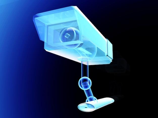 Um desenho técnico da câmera de vigilância de cftv.