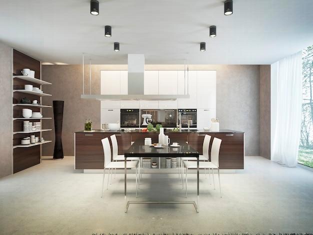 Um design clássico de área de jantar com mesa e cadeiras