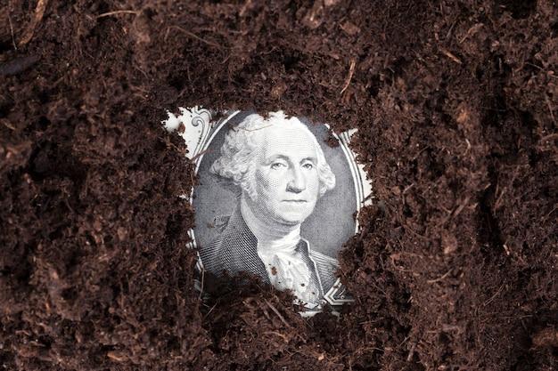 Um dólar americano cavado no solo de cor escura, atividade agrícola, close de um retrato do presidente com notas