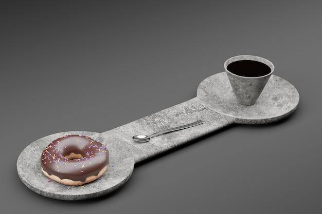 Um donut com cobertura de chocolate e uma colher com uma xícara de café em um prato de pedra dupla