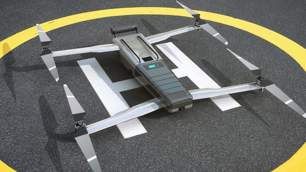 Um drone elétrico no heliporto está se preparando para decolar