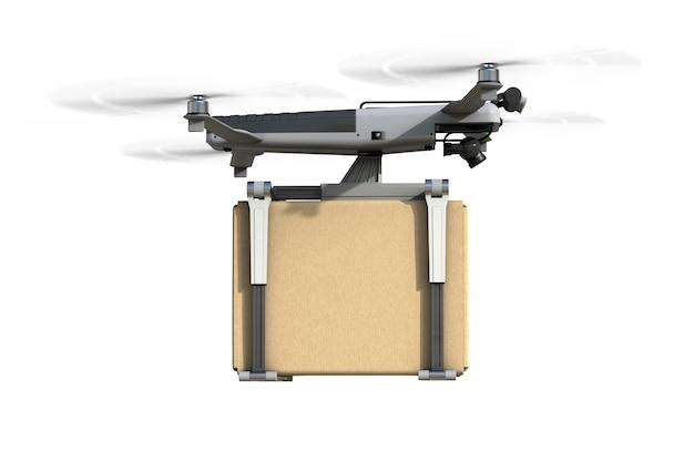 Um drone está voando com uma caixa de papelão. isolado no branco renderização 3d realista