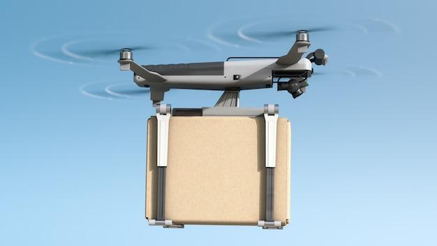 Um drone está voando com uma caixa de papelão.