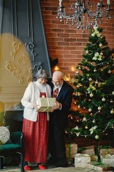 Um, elegante, par velho, é, celebrando, natal