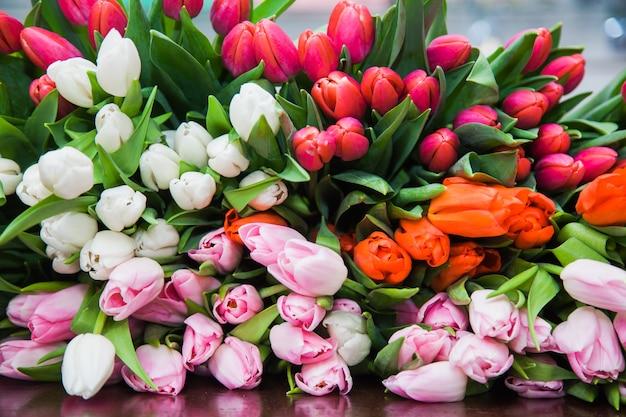 Um enorme buquê multicolorido de tulipas estava sobre a mesa. um fundo brilhante de flores de flores de primavera. florística e preparação de férias. conceito de design floral