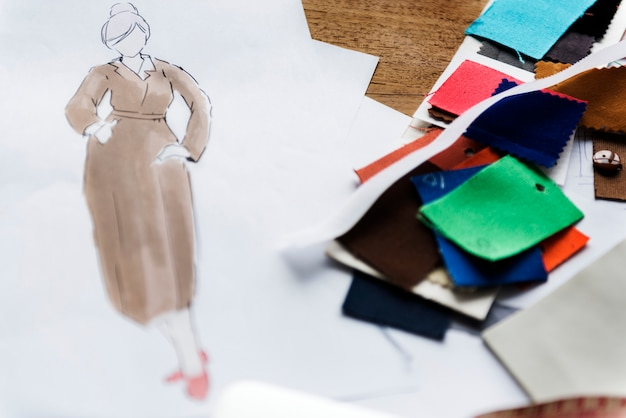 Um, esboço, de, um, mulher, vestido vestido