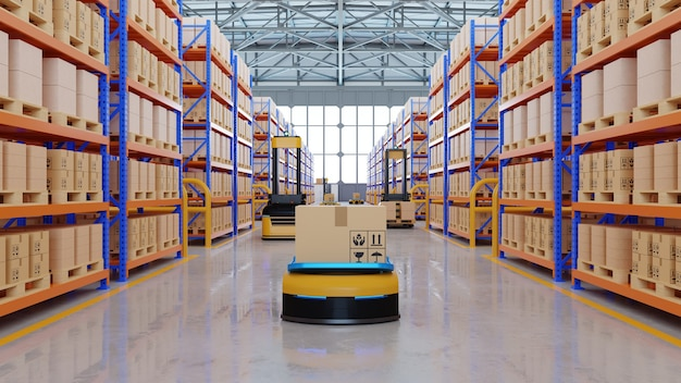 Um exército de robôs classificando com eficiência centenas de pacotes por hora (veículo guiado automatizado) renderização agv.3d