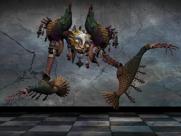 Um fantoche em um fundo sujo. ilustração 3d