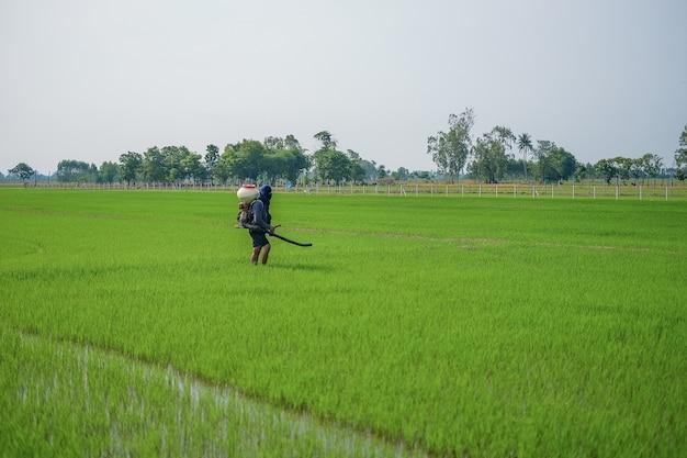 Um fazendeiro carregando um pulverizador de fertilizante químico está caminhando no campo.