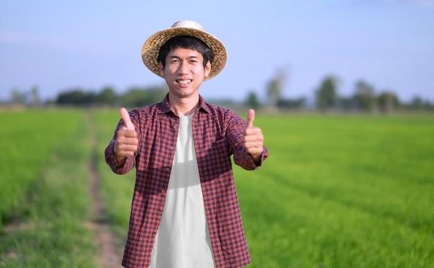 Um fazendeiro com uma camisa listrada está sorrindo com dois polegares para cima em um campo verde. foco seletivo na imagem do rosto.