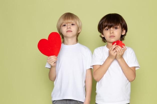 Um frotn ver dois meninos em camisetas brancas e jeans segurando formas de coração no espaço colorido de pedra