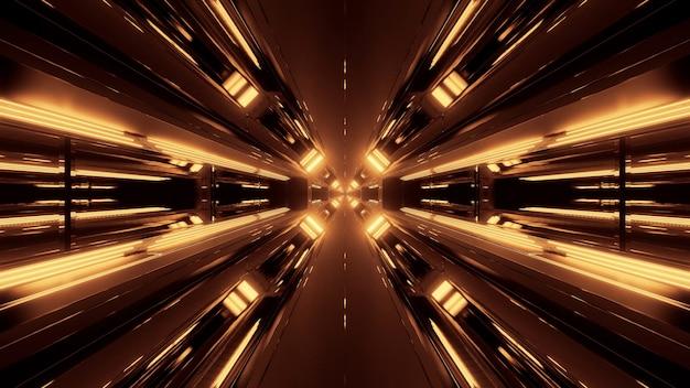 Um fundo abstrato futurista com luzes de néon brilhantes