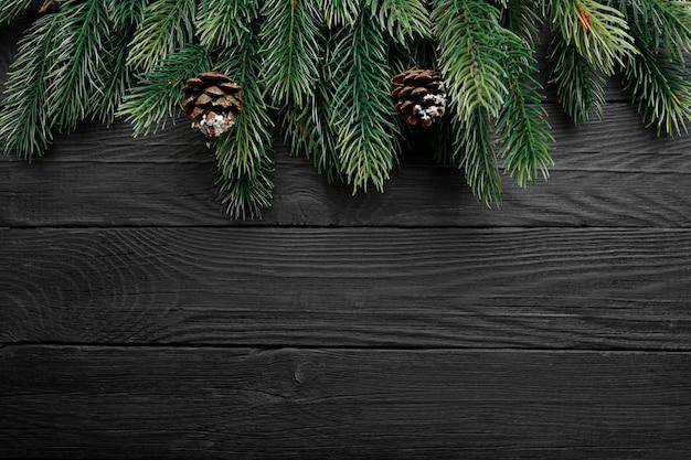 Um galho de árvore com cones em um fundo escuro de madeira