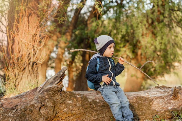 Um garotinho andando na madeira garotinho explorando as férias na natureza