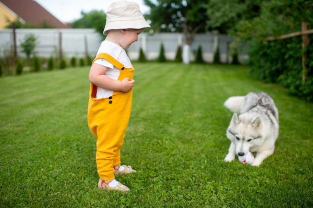 Um garotinho posando com o cachorro no jardim