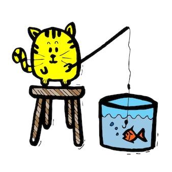 Um gato pescando em um balde de água, desenho de desenho animado, desenho de quadrinhos