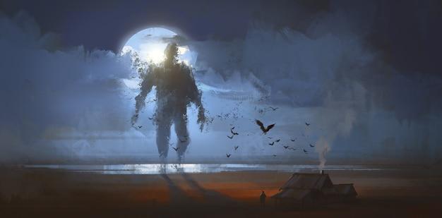 Um gigante composto por ilustração de morcegos.