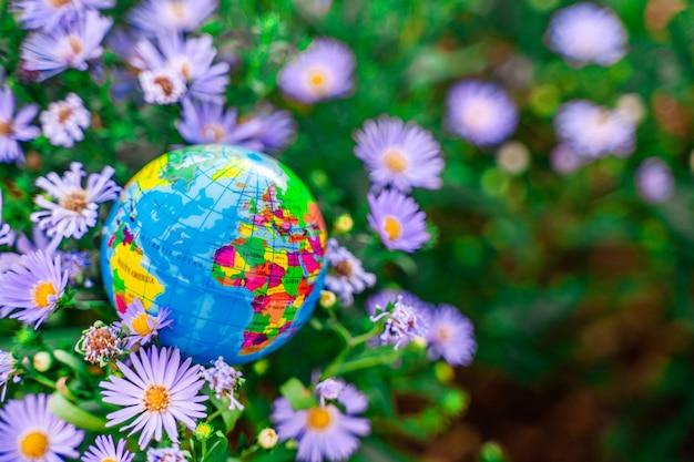 Um globo no parque na grama o conceito de proteção ambiental