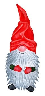 Um gnomo alegre com um boné brilhante e luvas vermelhas com uma ilustração em aquarela de longa barba grisalha