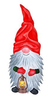 Um gnomo fofo com um boné vermelho e luvas com uma longa barba grisalha e uma lanterna na mão.