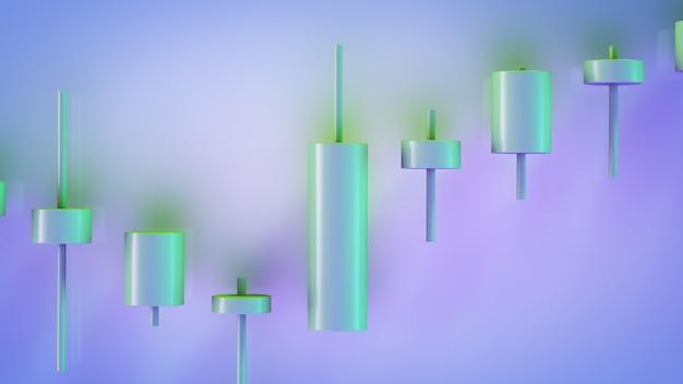 Um gráfico de tendência de alta. vista de velas japonesas. troca de tópicos